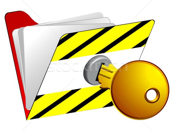 Zárolt mappa ikon fehér absztrakt vektor Stock fotó © robertosch