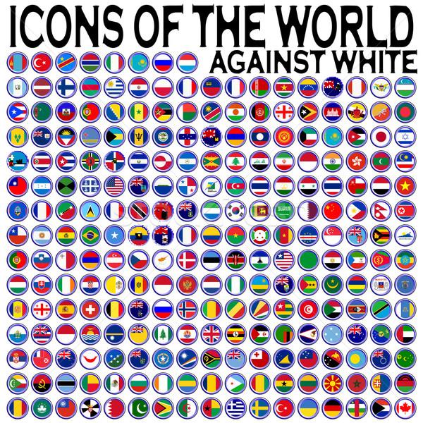Ikonok világ fehér absztrakt vektor művészet Stock fotó © robertosch