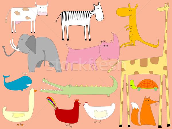cartoon drawing with animals Stock photo © robertosch