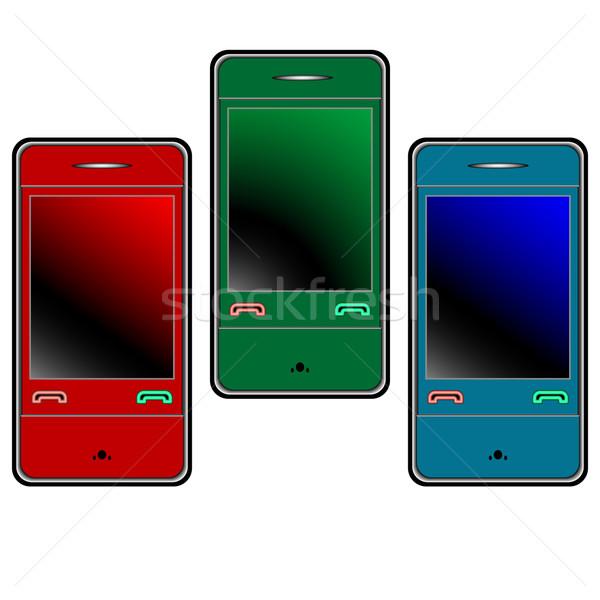 Kolorowy telefony komórkowe biały streszczenie wektora sztuki Zdjęcia stock © robertosch