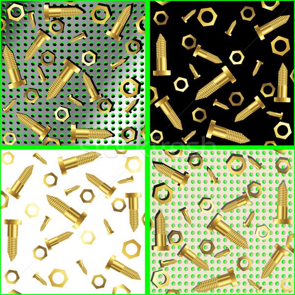Zdjęcia stock: Orzechy · streszczenie · sztuki · ilustracja · metal · złota