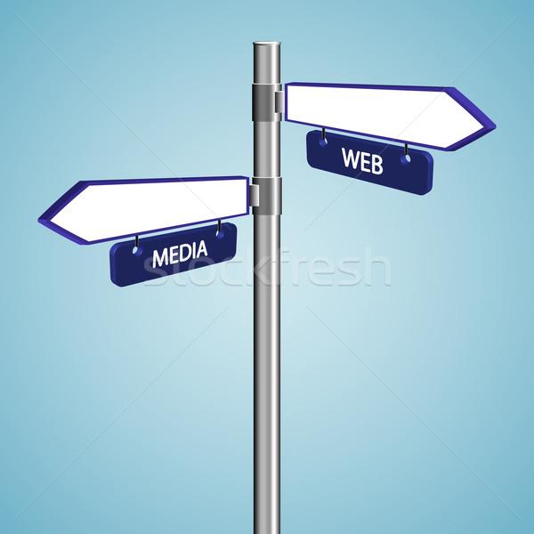 Háló média feliratok kék ég absztrakt vektor Stock fotó © robertosch