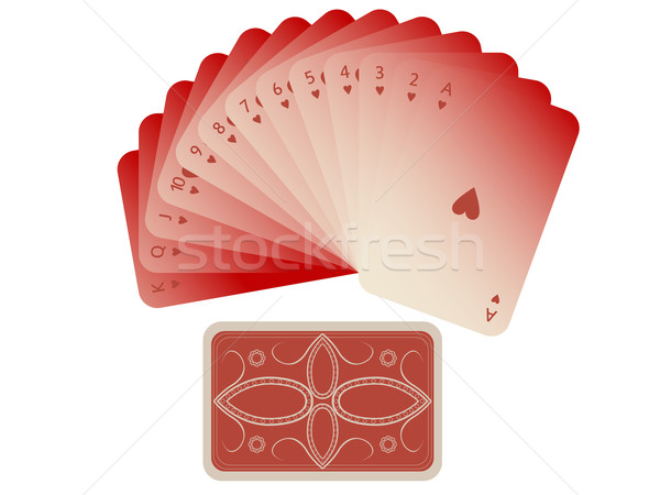 hearts cards fan with deck isolated on white Stock photo © robertosch