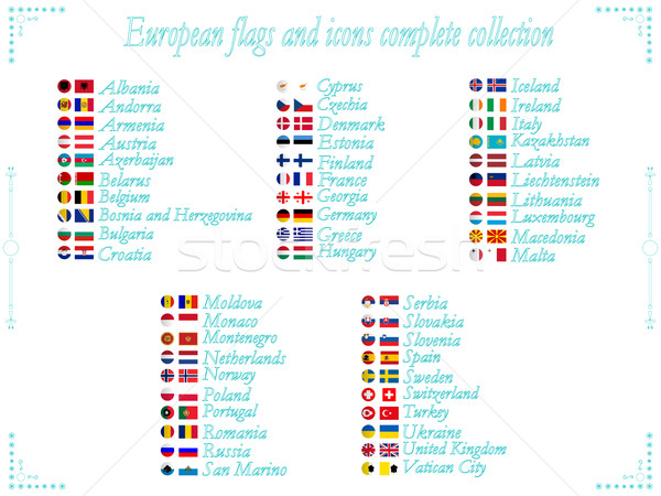 Bandiere raccolta icone alfabetico fine Foto d'archivio © robertosch