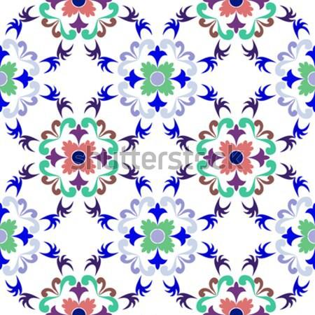 Végtelenített virágmintás minta vektor művészet illusztráció Stock fotó © robertosch