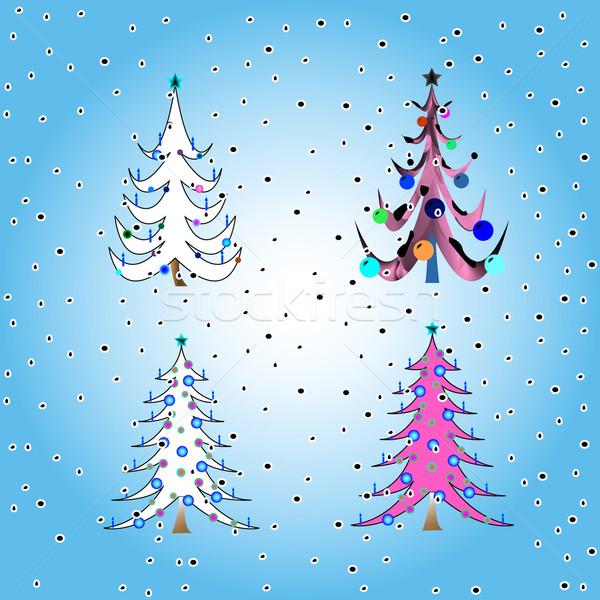 Stilizált karácsony fák vektor művészet illusztráció Stock fotó © robertosch