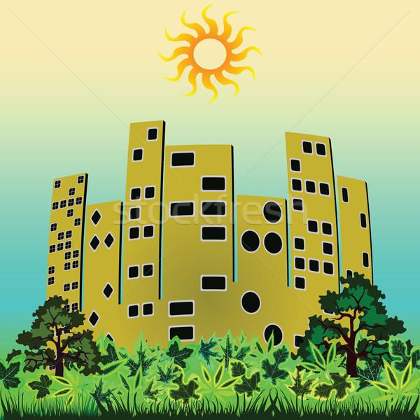 Zielone miasta streszczenie wektora sztuki ilustracja Zdjęcia stock © robertosch