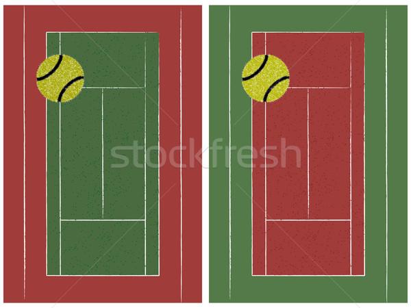 теннисный корт мяча набор аннотация вектора искусства Сток-фото © robertosch