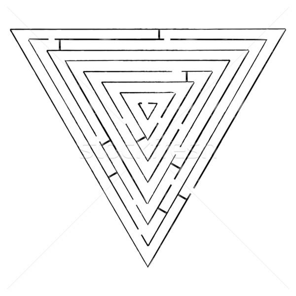 Driehoek doolhof zwarte witte abstract vector Stockfoto © robertosch