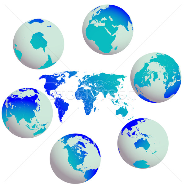 earth globes and world map against white Stock photo © robertosch
