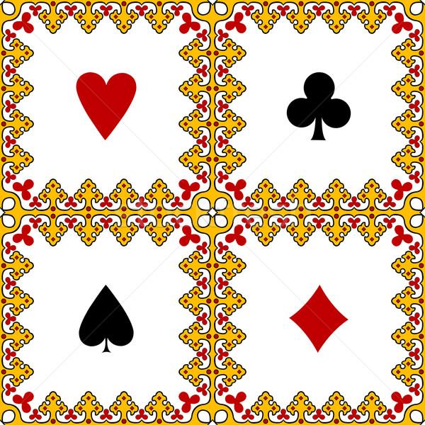 Játszik kártya szimbólumok keret absztrakt vektor Stock fotó © robertosch