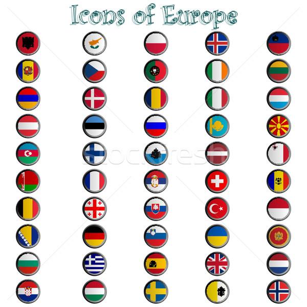 Ikonok Európa teljes gyűjtemény fémes szimbólumok Stock fotó © robertosch