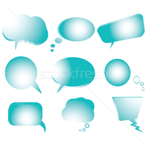 Collection of stylized blue text bubbles, vector isolated object Stock photo © robertosch