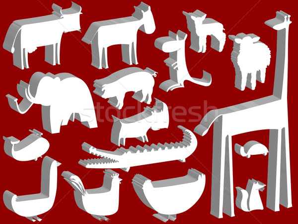 animal figurines over red background Stock photo © robertosch