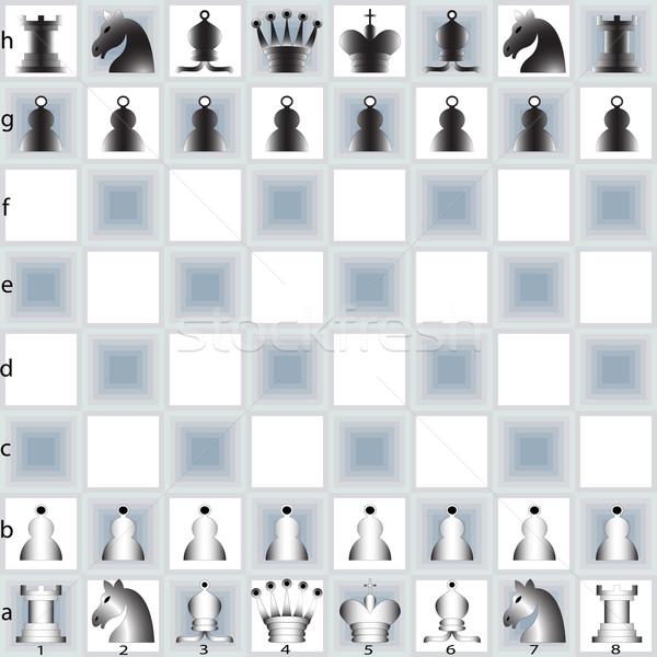 Piezas de ajedrez mesa resumen vector arte ilustración Foto stock © robertosch