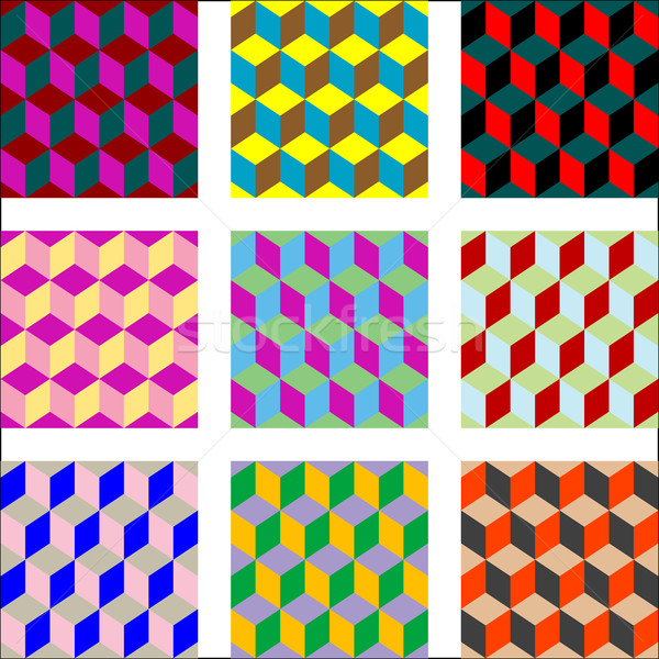 nine different versions of psychedelic patterns Stock photo © robertosch