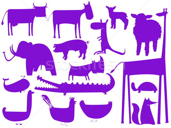 animal purple silhouettes isolated on white background Stock photo © robertosch
