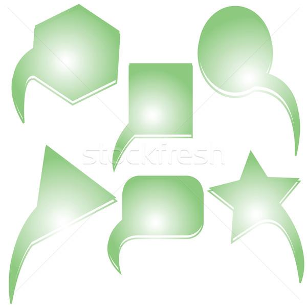 Absztrakt zöld szöveg buborékok vektor művészet Stock fotó © robertosch