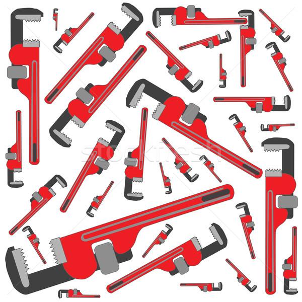 Foto stock: Tubo · chave · inglesa · padrão · vetor · arte · ilustração