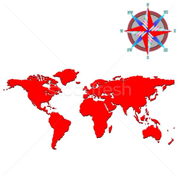 Piros világtérkép szél rózsa vektor művészet Stock fotó © robertosch