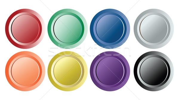 набор восемь Vintage Кнопки изолированный белый Сток-фото © robertosch