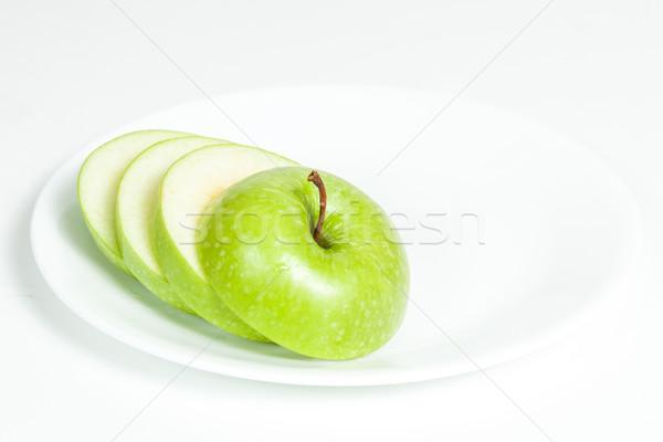 Dilimleri yeşil elma plaka beyaz gıda Stok fotoğraf © robinsonthomas