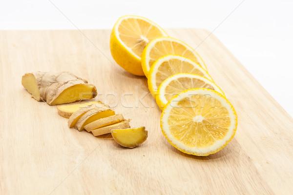 Zencefil limon dilimleri ahşap Stok fotoğraf © robinsonthomas