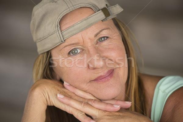 Portrait active fit happy woman closed eye Stock photo © roboriginal