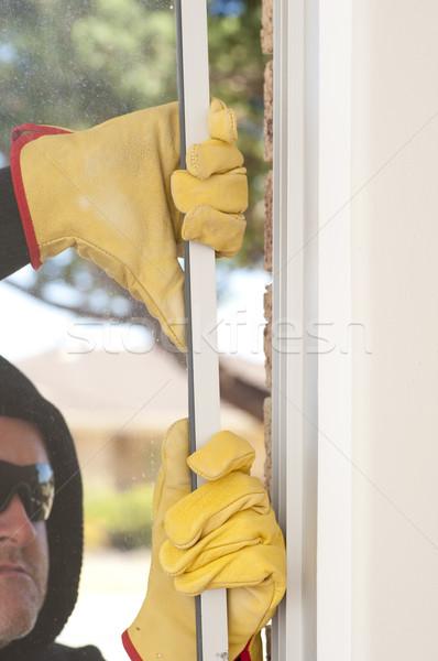 грабитель окна домой мужчины нарушитель черный Сток-фото © roboriginal