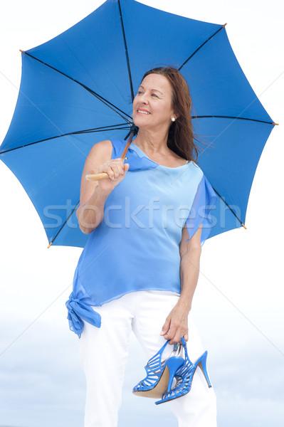 Csinos érett nő magas sarok szandál szabadtér portré Stock fotó © roboriginal
