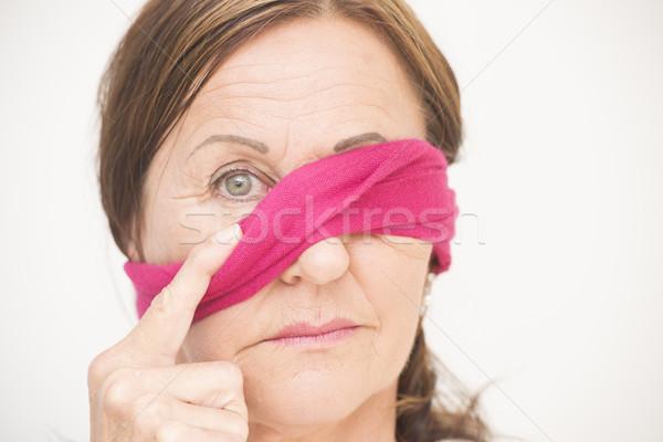 Een oog geblinddoekt aantrekkelijke vrouw portret aantrekkelijk Stockfoto © roboriginal