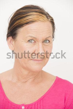 Aggódó vonzó nő portré vonzó érett nő néz Stock fotó © roboriginal