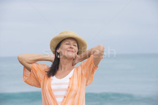 Stockfoto: Gelukkig · tevreden · aantrekkelijk · rijpe · vrouw · portret · mooie