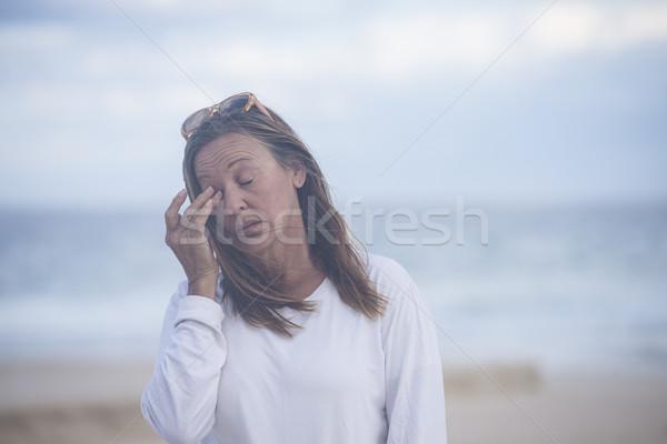 ストックフォト: 疲れ · 女性 · 閉経 · ストレス · 肖像 · 魅力的な