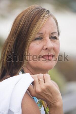 Concerned mature woman outdoor Stock photo © roboriginal