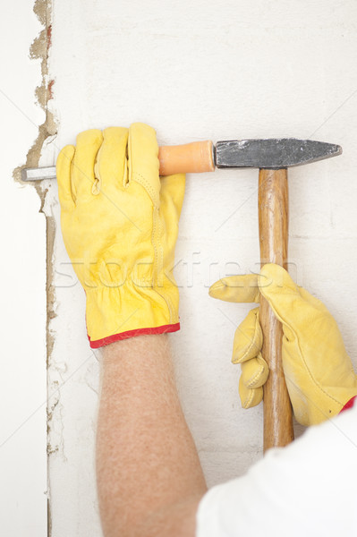 Interior House wall renovation hammer and gouge Stock photo © roboriginal