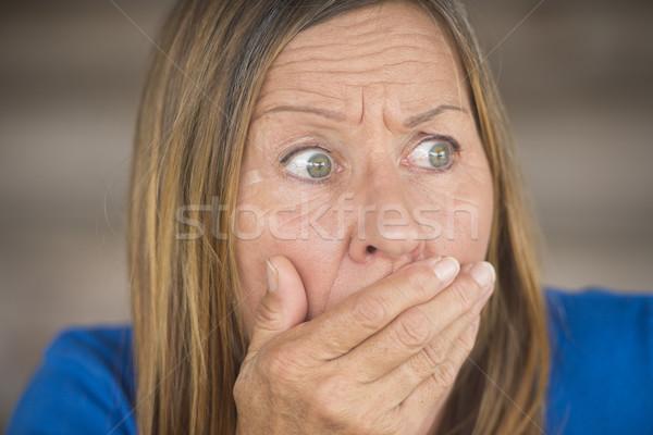 Megrémült zaklatott ijedt nő portré portré vonzó Stock fotó © roboriginal