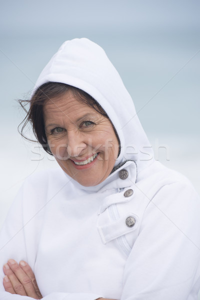 Woman cold weather portrait ocean Stock photo © roboriginal