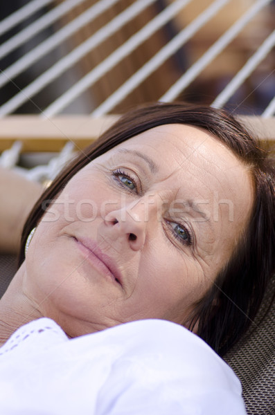Portrait beautiful mature woman sleeping, with smiling happy and relaxed but sad facial expression,  Stock photo © roboriginal