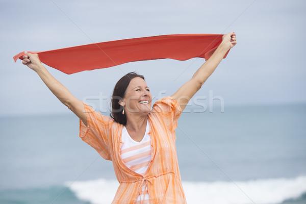 Foto stock: Mulher · madura · feliz · alegre · ao · ar · livre · retrato · atraente
