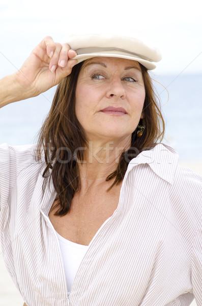 Seksi olgun kadın yalıtılmış açık portre mutlu Stok fotoğraf © roboriginal