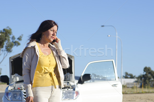 Woman car breakdown road assistance Stock photo © roboriginal