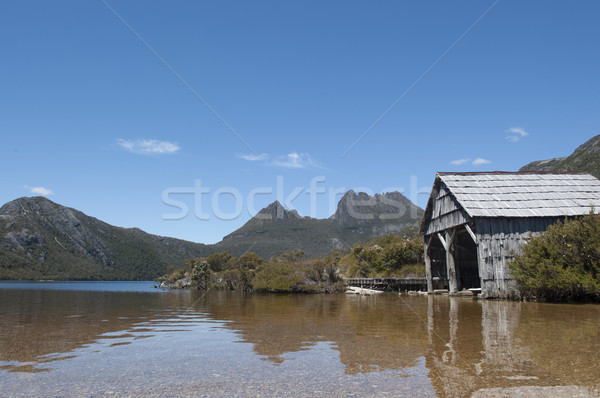 Cradle Mountain Tasmania and boat shed Stock photo © roboriginal