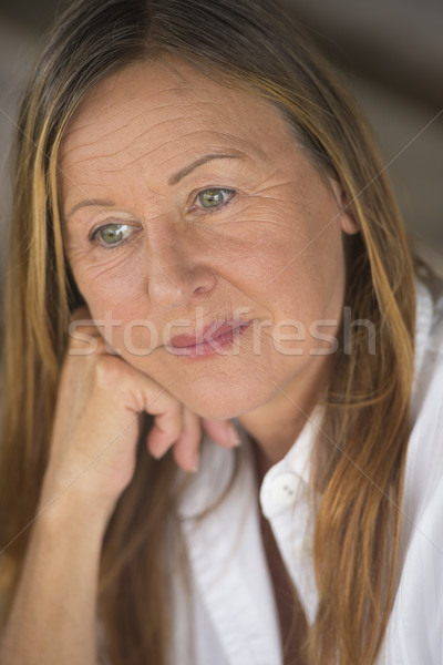 Thoughtful lonely sad mature woman portrait Stock photo © roboriginal