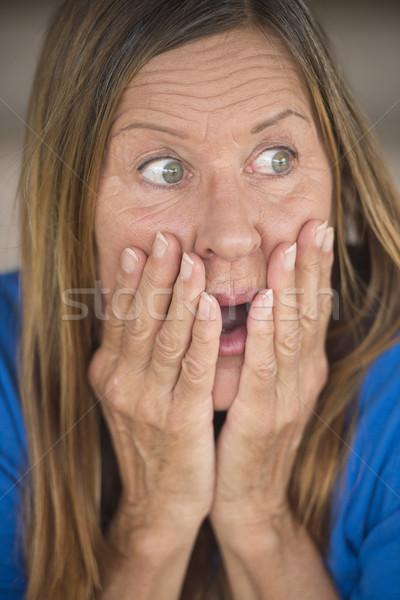 Megrémült zaklatott nő portré portré vonzó érett nő Stock fotó © roboriginal