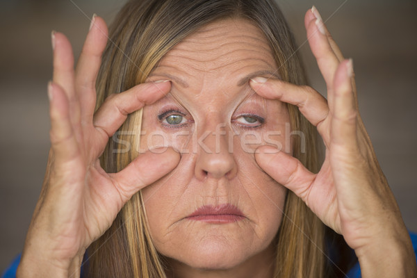 Tired stressed woman migraine headache Stock photo © roboriginal