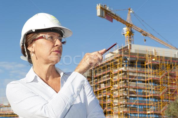 Portrait woman architect construction site Stock photo © roboriginal