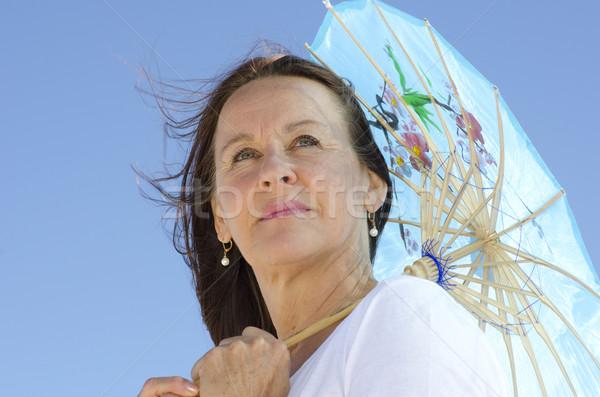 Portre çekici bayan güneş şemsiyesi güzel bakıyor Stok fotoğraf © roboriginal