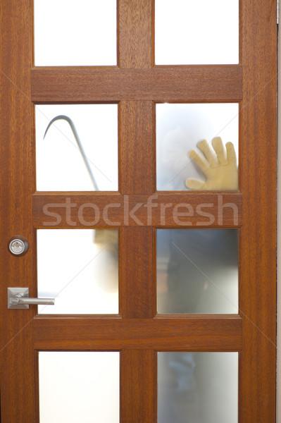 Voleur maison porte cambriolage mains cambrioleur Photo stock © roboriginal