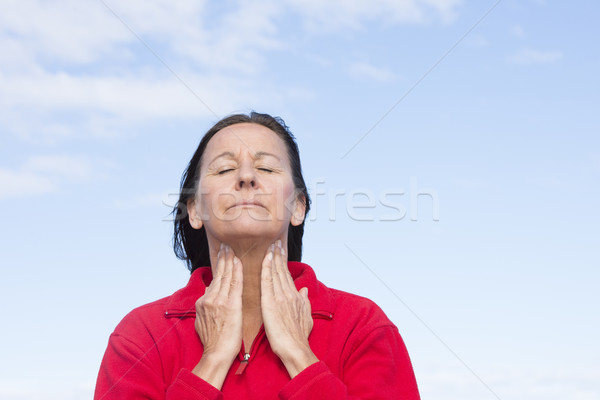 Woman with painful throat ache Stock photo © roboriginal
